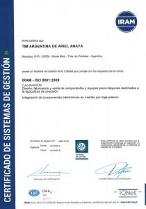 TIM Argentina certificado de calidad